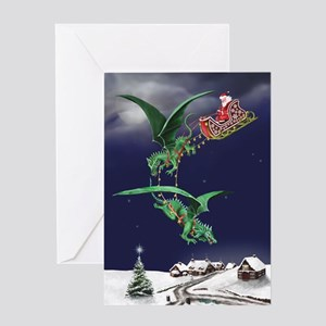Santa's Dragon Sleigh Christmas Card
